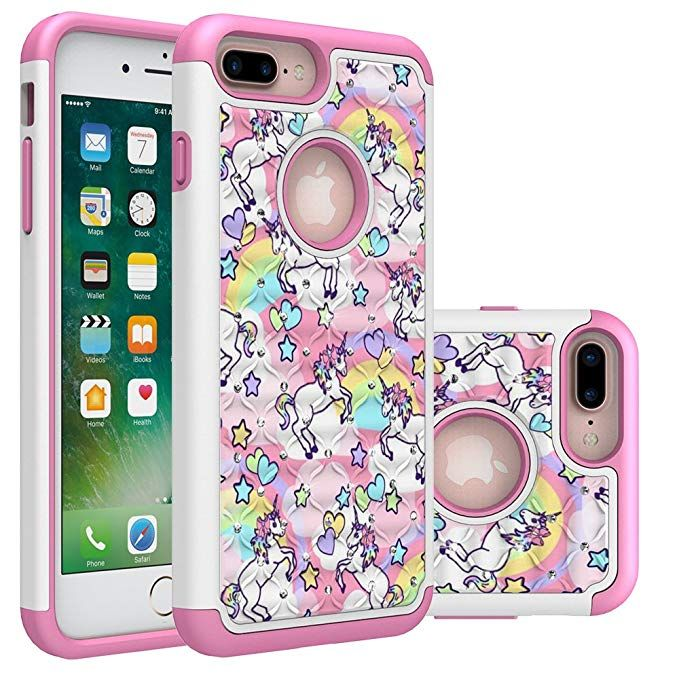 Iphone 7 Plus Case Iphone 8 Plus Bling Case Rainbow Unicorn Design Heavy Duty Shockproof Studded Rhinest Iphone 7 Plus Cases Iphone 7 Plus Unicorn Phone Case