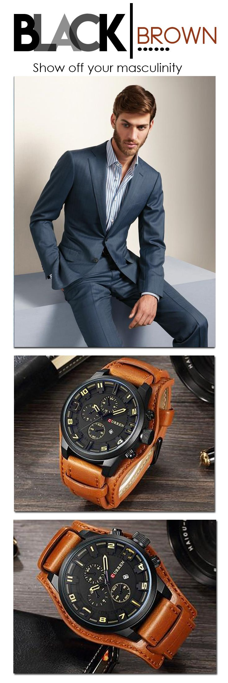 The Luxury business watch you need - we all have the same amount of time, use every second to look good and fulfill your desires------------------  2018 curren Watches Men Watch Luxury Famous Brand Chronograph Men Watches Male Clock Sports Leather Quartz-Watch Reloj Hombre business watch casual fashion