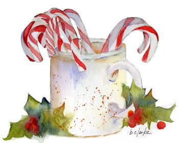 watercolor painting of candy canes by Barb Clarke