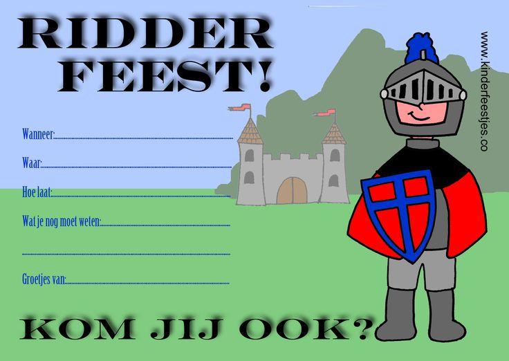 Uitnodiging ridderfeest ter goede voorbereiding op het kinderfeestje van je zoon. Gratis te downloaden.