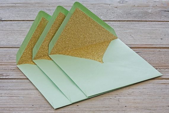Gold glitter lined envelopes Sparkly gold by TheWeddingInvitation