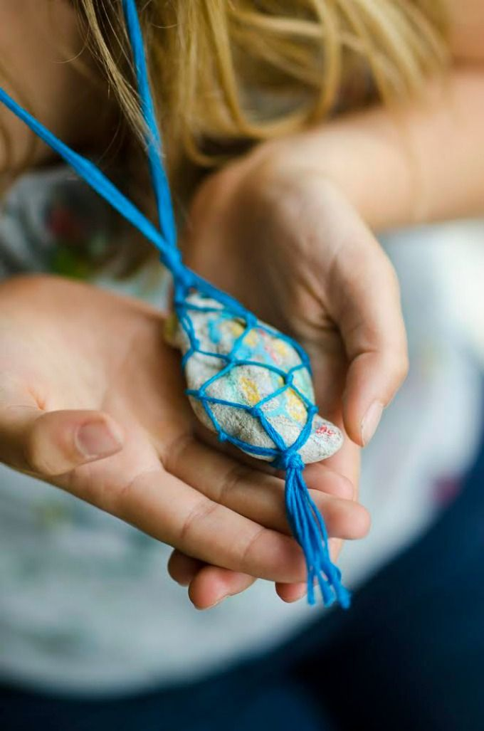 Macrame Rock Necklace Kids Craft