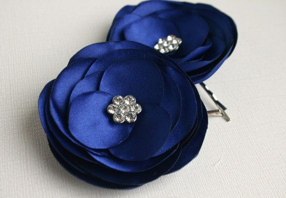 Blue Flower Hair Clips For Wedding Navy Blue by SarasBoutique