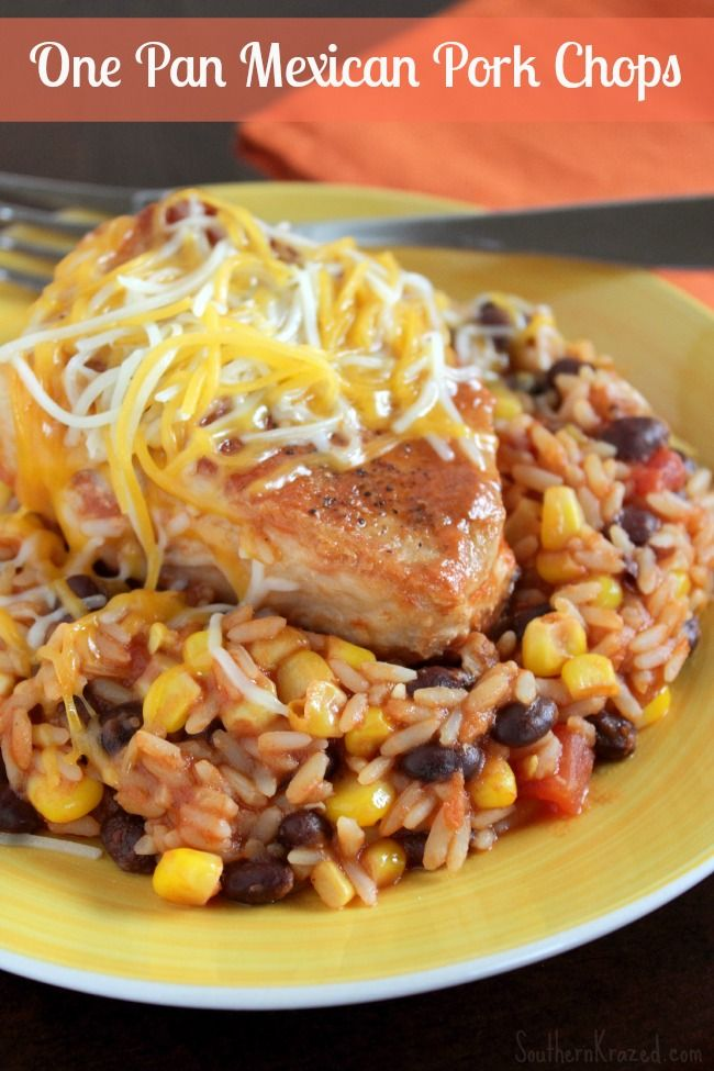 No time to spend hours in the kitchen? How about an easy, delicious one pan supper recipe? Check out this One Pan Mexican Pork Chops Recipe. It may just be what you need for supper tonight!