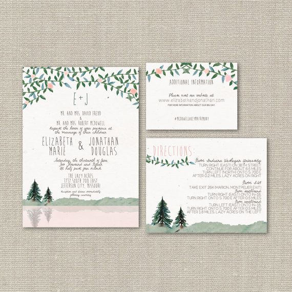 Wedding Invitation Suite DEPOSIT, DIY, Rustic, Woodland, Hipster, Country, Printable, Custom, Watercolor, Mountain (Wedding Design #54)
