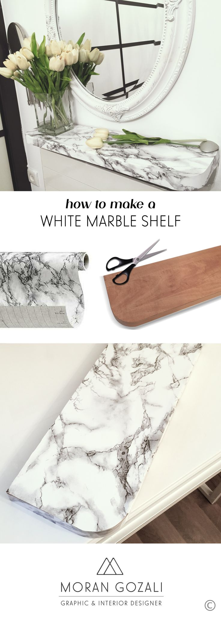 Interior Designer Moran Gozali - Weekly Tip: Furniture Makeovers with ‎Marble‬ Contact Paper