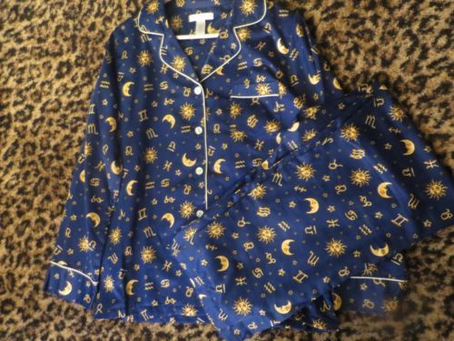CAROLE HOCHMAN Womens 2 Piece Set Pajamas Blue Moon Stars ...