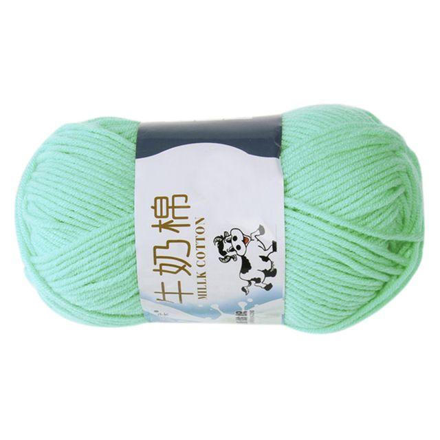 1 grupo de la Leche de Algodón Hilados de lana Para tejer A Mano Suave (verde Agua) Línea aproximada acerca de 2.5mm