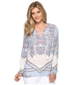Dylan by True Grit Vintage Boho Bandana Border Long Sleeve Blouse (Vintage Chambray) Women's Clothing