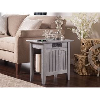 Nantucket Driftwood Grey Chair Side Table with Charger