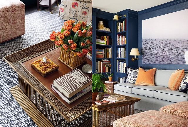 gorgoues texture and contrast - love the navy wall and orange