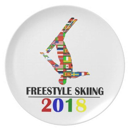 2018 FREESTYLE SKIING MELAMINE PLATE - gold gifts golden diy custom