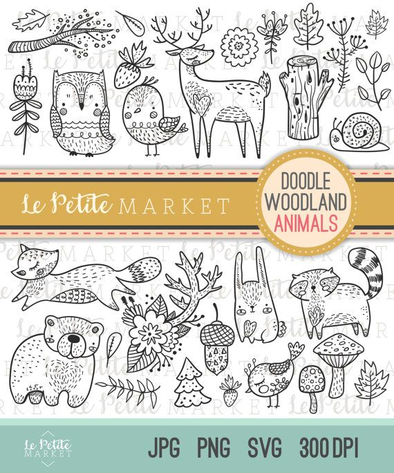 Niedliche Doodle Waldbewohner Clipart, Wald, den Tier Clipart, Wald digitale Briefmarken, Vogel Eule Hirsch Waschbär Fuchs Bär ClipArt