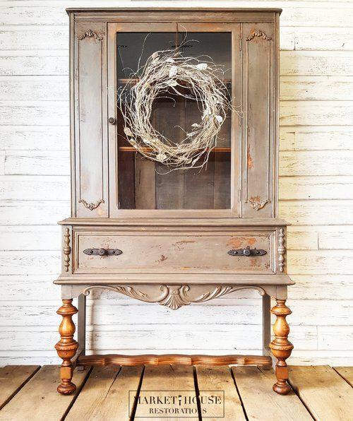 Milk Paint Chippy Antique China Cabinet Painted Oil & Wax Repurposed Farmhouse Furniture Distressed