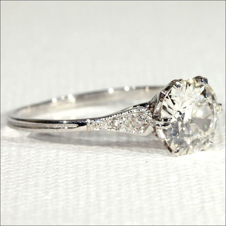 Antique Edwardian 1.4ct Diamond Solitaire Ring in Platinum, European c. 1915 #weddingring