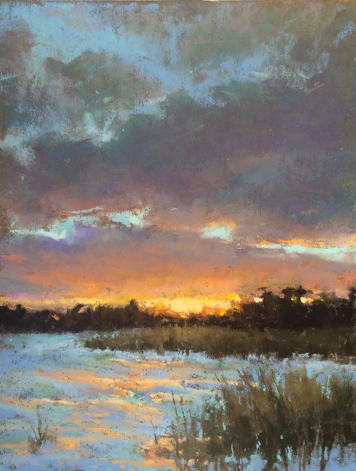 Sunset in the Snow, study by Jacob Aguiar Pastel ~ 10 x 7.5