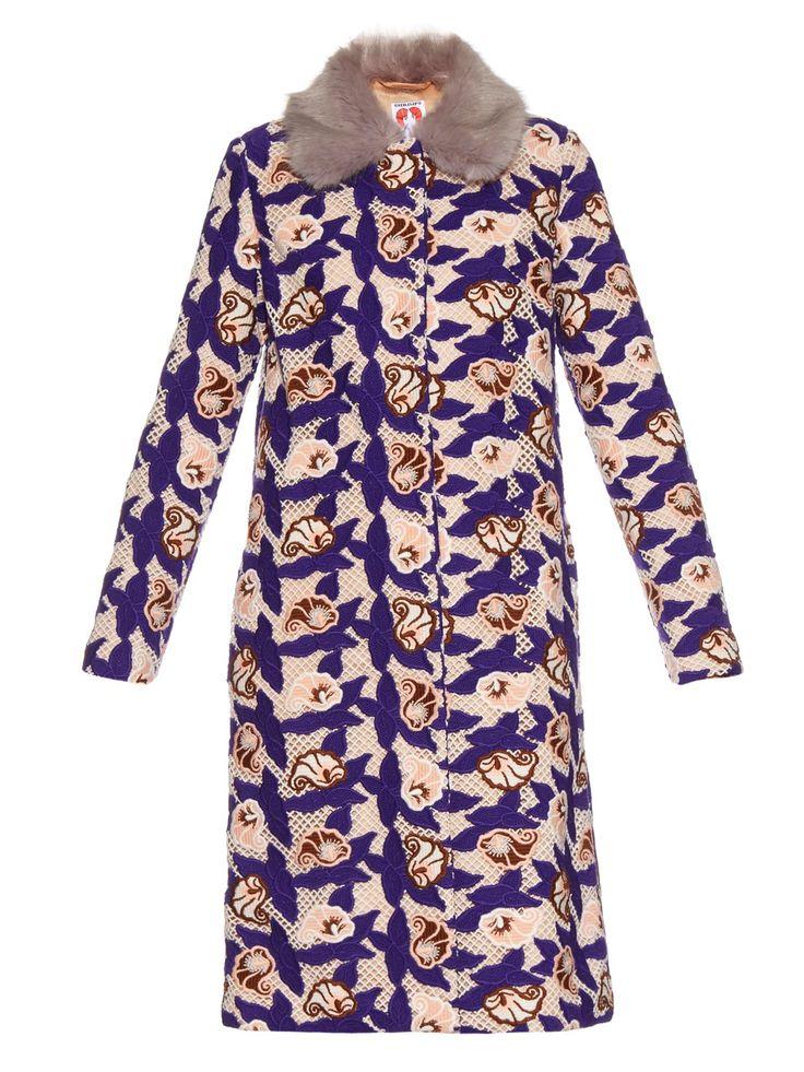 Shrimps Marie faux-fur collar crochet coat - Best Winter Coats - Vegan Coat