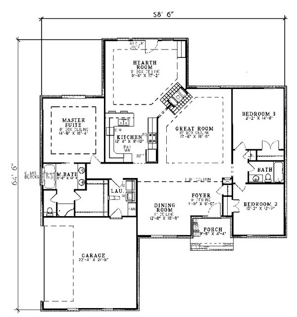 52 best floor plans images on pinterest cottage home for Ranch house plans with bedrooms together