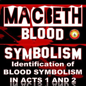 """""""Blood"""" is used 109 times throughout Macbeth. The symbolism varies with character and situation; however, I've narrowed the """"blood types"""" to G--Guilt, A---Ambition, and H---Honor. In this activity, students examine a quote and choose the correct test tube: G, A, or"""