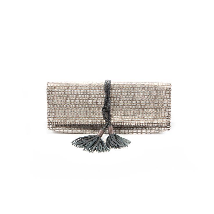 Grey eco-leather clutch with tassels