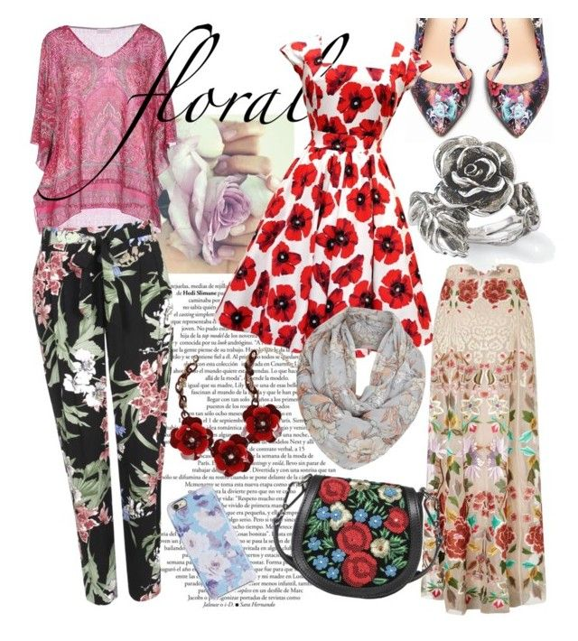 """""""Flower Power"""" by ibuperi on Polyvore featuring Bebe, Wallis, Temperley London, Donald J Pliner, Natures Jewelry and Isaac Mizrahi"""