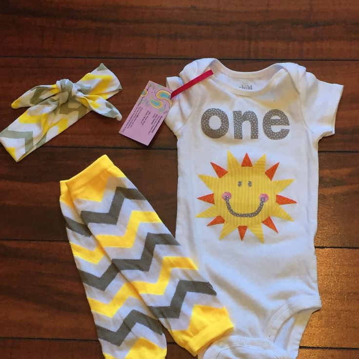 Look what's new! Is your little sunshine almost one? This adorable new outfit would be perfect for their first birthday party or cake smash photoshoot!