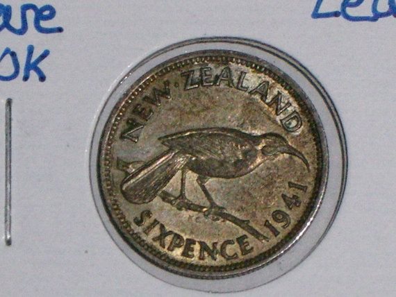 RARE 1941 Silver New Zealand Sixpence 6 Pence. by OldForeignCoins, $39.00