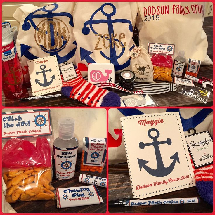 Family Cruise goody bags!! What's in it: journal, pen, socks, water bottle, first aid kit, monogrammed stickers, lanyard, Pirates booty, goldfish &  Swedish fish, gum, tic tacos, Chapstick, hand sanitizer, water bottle clip, tiny bottles for sand.