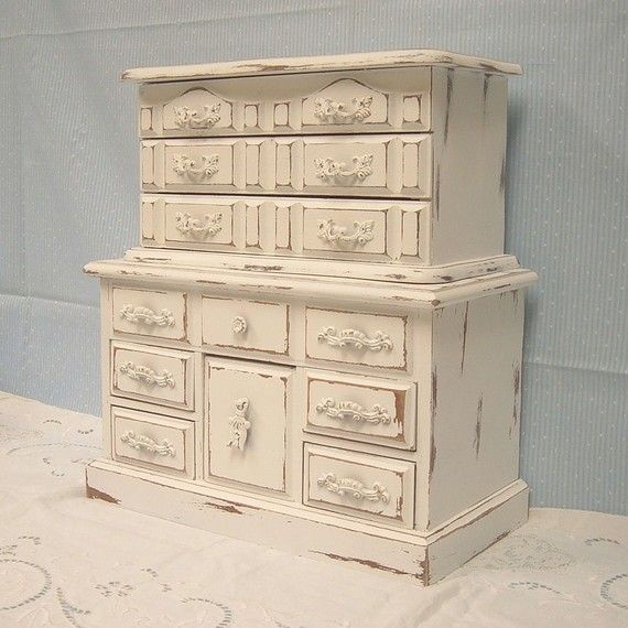 $59. sold. MountainCoveAntiques. Shabby Chic Painted Distressed LG White Jewelry Box TWO Chest Boxes Organizer Ornate French Victorian Cottage