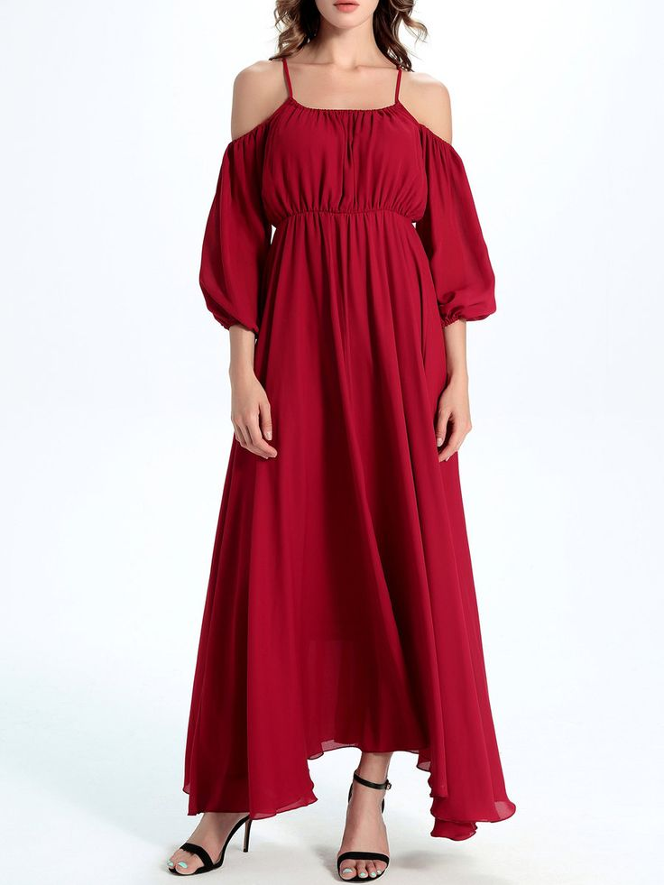 #AdoreWe #StyleWe Designer Maxi Dresses - Designer CICI WANG Red Balloon Sleeve Cold Shoulder Chiffon Maxi Dress - AdoreWe.com