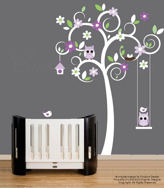 Nursery tree wall decal with owls, birds and swing vinyl wall decal stickers - 0106