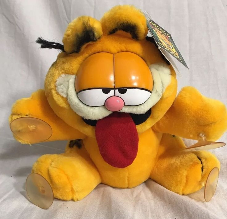 Vintage 1978 Garfield Tongue Sticking Out Suction Cup Plush Stuffed Animal NWT #Fine