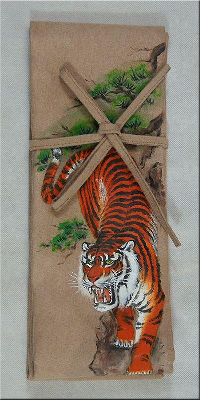 Suede sword bag. Unique, hand painted japanese tiger on beige suede. Katana…