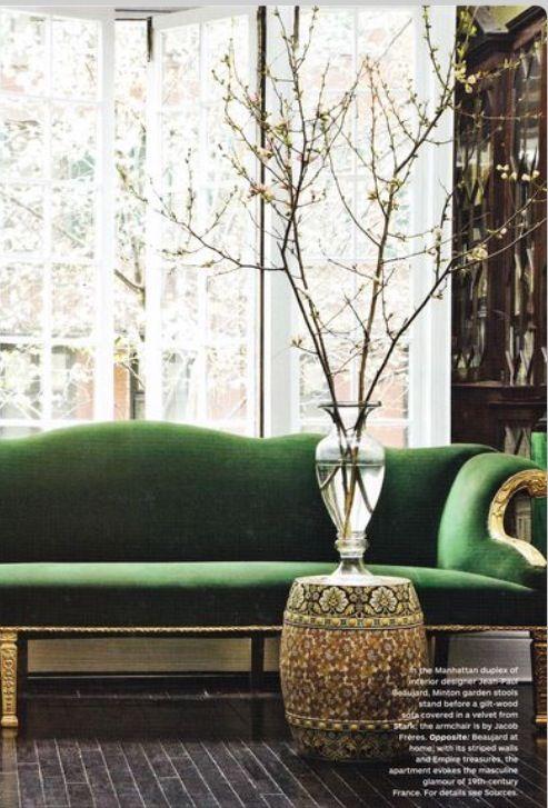 A Bachelorette's Abode / Interior decor ideas / emerald green