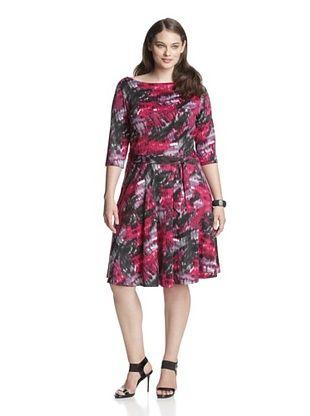 59% OFF Leota Women's Plus Ilana Dress (Fuchsia Watercolor)