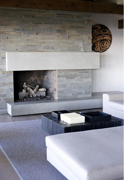 The gallery for --> Contemporary Stone Fireplace Designs