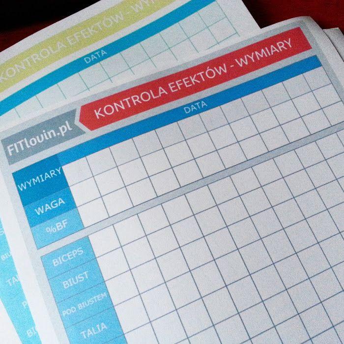 Arkusz z wymiarami do zapisywania i kontroli efektów diety i ćwiczeń.