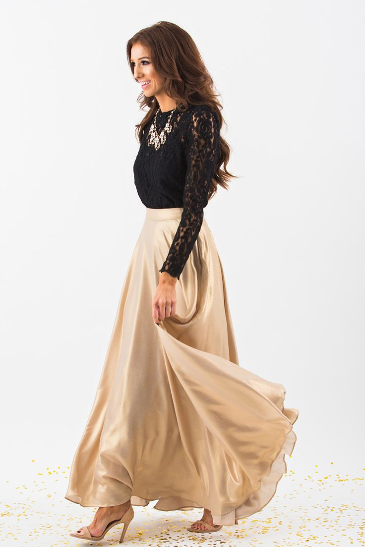 Maxi Skirts for Women, Gold Skirts, Holiday Outfit Inspiration