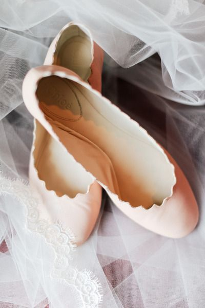 Pastel Pink Scalloped Flats For Bride by Chloé