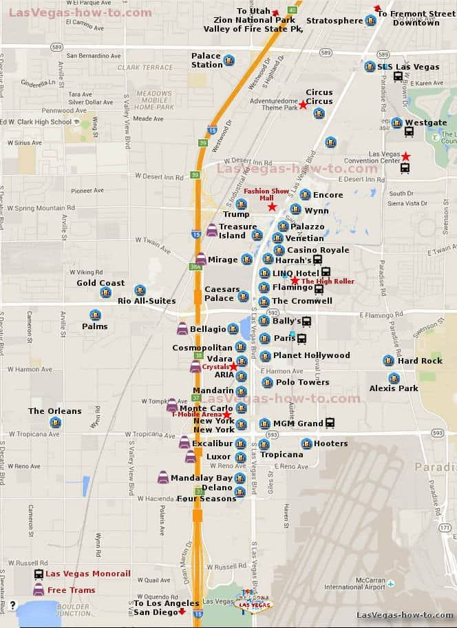 Las Vegas Strip Map-- info on shuttles and monorail