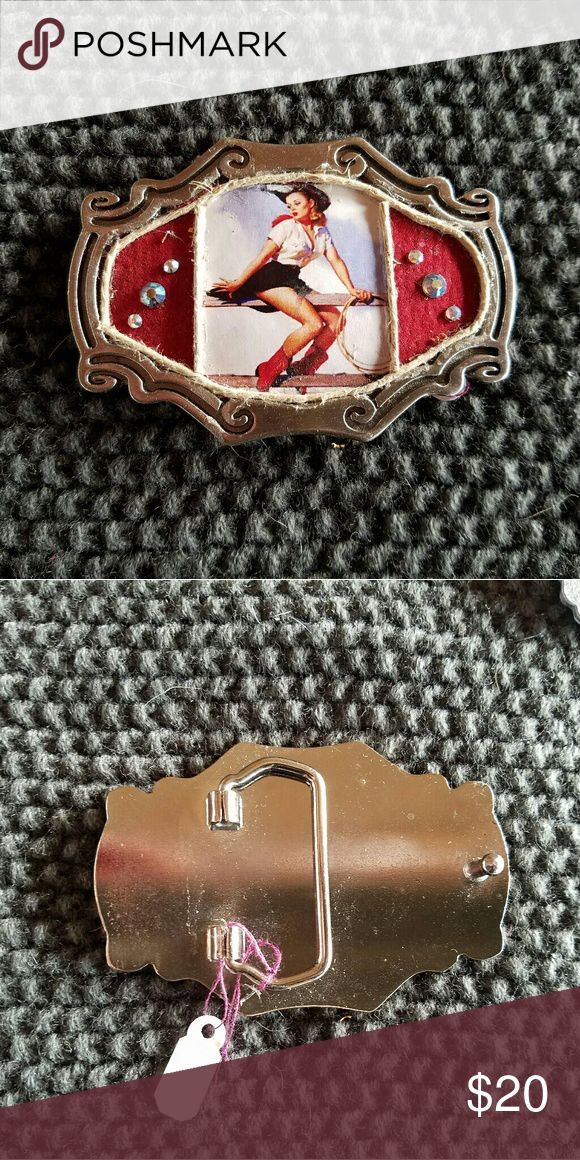 """""""Cowgirl"""" Red suede background with cowgirl picture. Rope border. Has ab Swarovski Crystals on either side. Measures 3 1/2"""" x 2 1/4"""". Pair with your choice belt strap. Buckles sold at art shows....closing up shop. Accessories Belts"""
