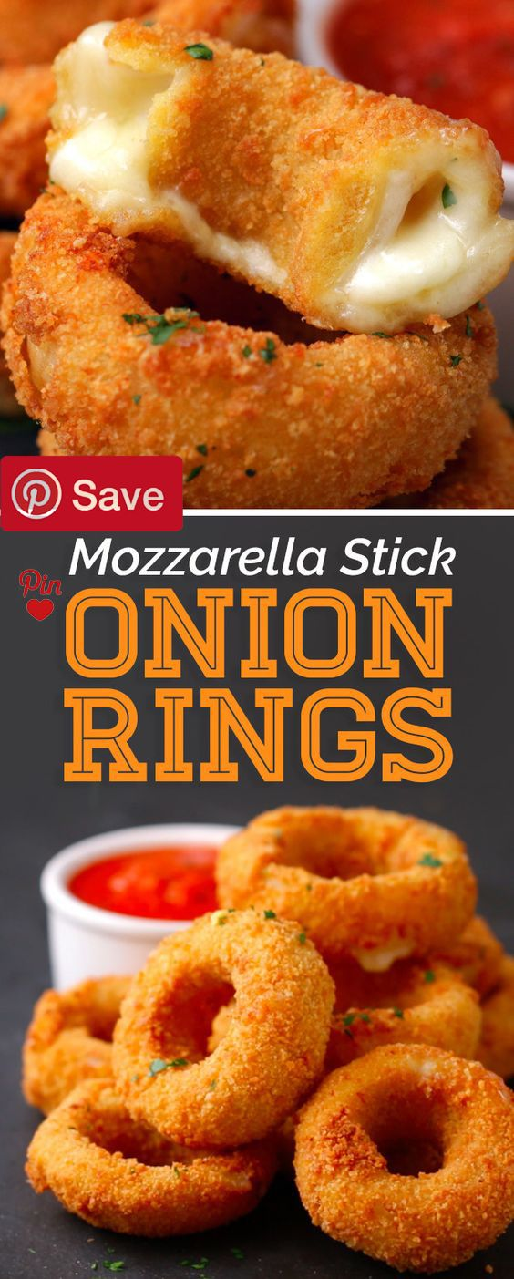 These Mozzarella Stick Onion Rings Should Run For President - #delicious #diy #Easy #food #love #recipe #recipes #tutorial #yummy @mabarto - Make sure to follow cause we post alot of food recipes and DIY we post Food and drinks gifts animals and pets and sometimes art and of course Diy and crafts films music garden hair and beauty and make up health and fitness and yes we do post women's fashion sometimes and even wedding ideas travel and sport science and nature products and photography…