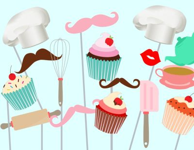 Cupcake Baking Photo booth Party Props