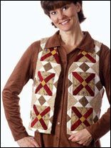 The Blocks of Time The T Quilt pattern creates vests that give a nod to the past with modern flair.  Download the pattern at free-quilting.com.