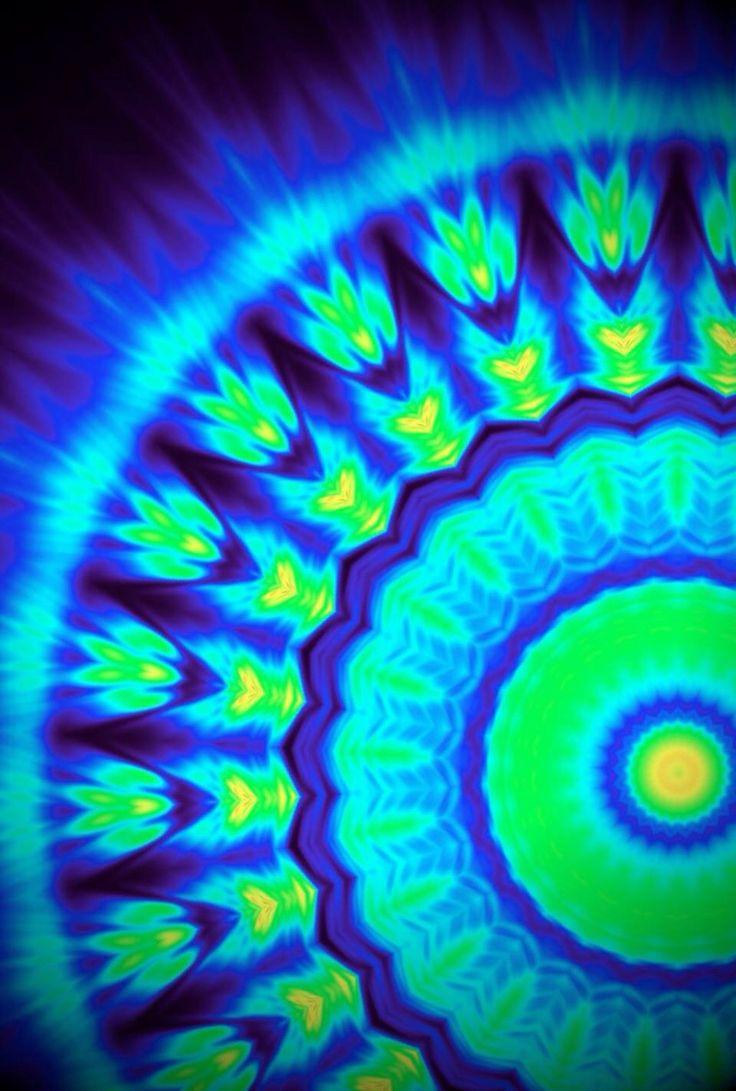 Color art mandala wonders - Mandala Art Blue Green Neon Color