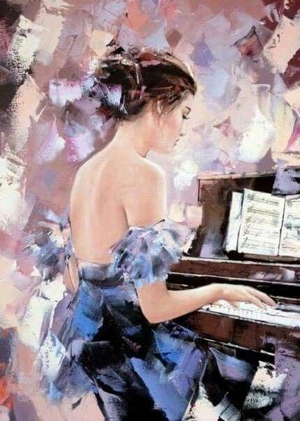 Music piano female painting