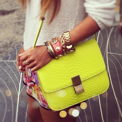 : Arm Candy, Neon Accessories, Neon Bags, Celine Bags, Bright Colour, Yellow Bags, Parties Bags, Arm Parties, Neon Yellow
