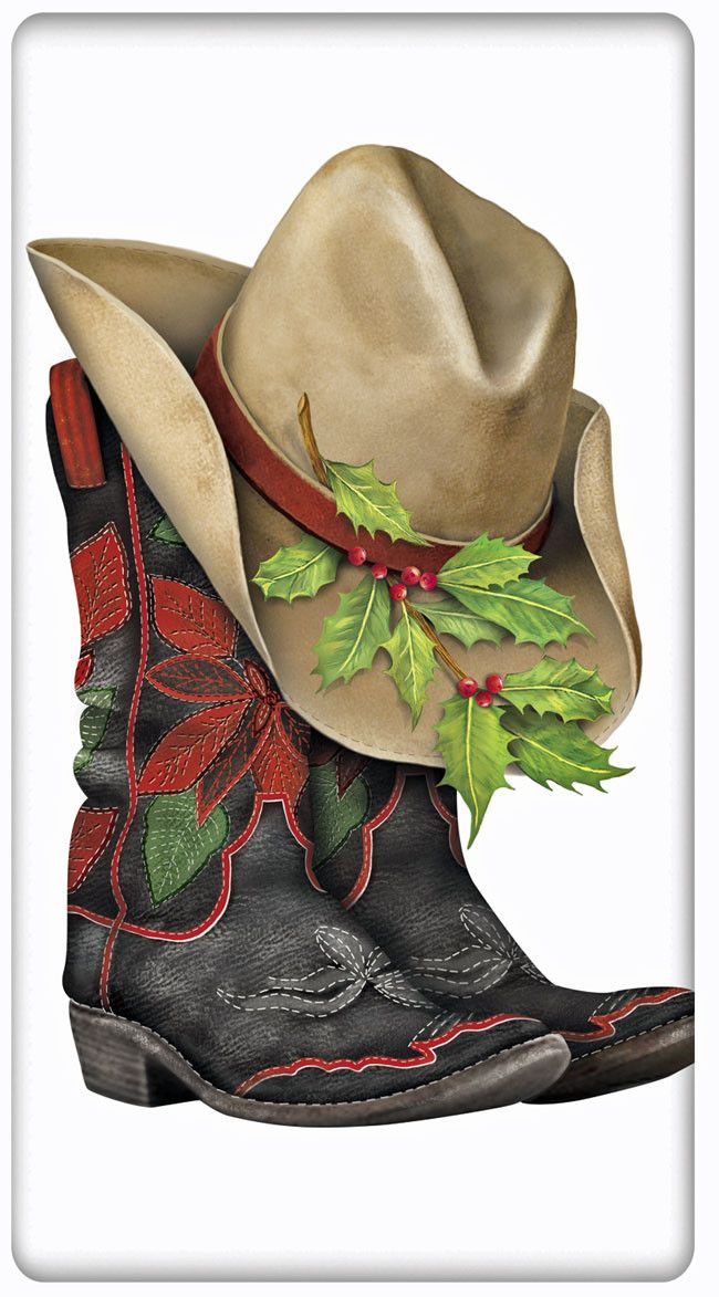 Poinsettia Holiday Cowboy Boot 100% Cotton Flour Sack Dish Towel Tea Towel