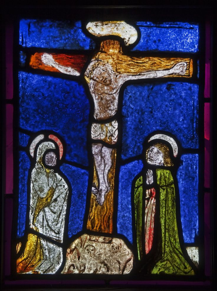 Stained glass with Crucifixion from Miedźna by Anonymous from Upper Silesia, ca. 1440-1450 (PD-art/old), Muzeum Śląskie w Katowicach