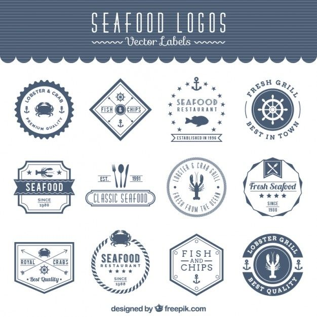 logos de fruits de mer Vecteur gratuit